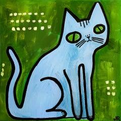 Blue Cat on Green, Original Painting