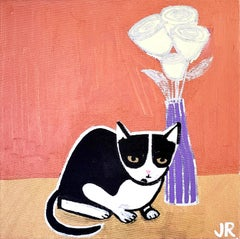 Cat with Flowers, Original Painting