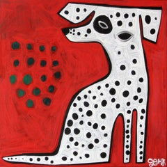 Dalmatian on Red