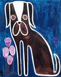 Dog with Flowers, Original Painting