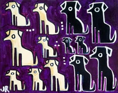 Dogs on Purple, Original Painting