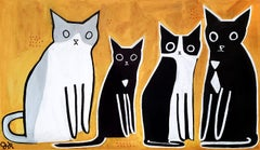 Four Cats, Original Painting