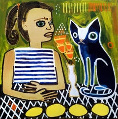 Girl with Cat and Lemons