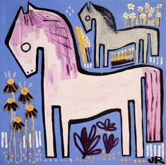 Ponies with Wildflowers, Original Painting