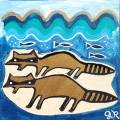 Raccoons on the Beach, Original Painting