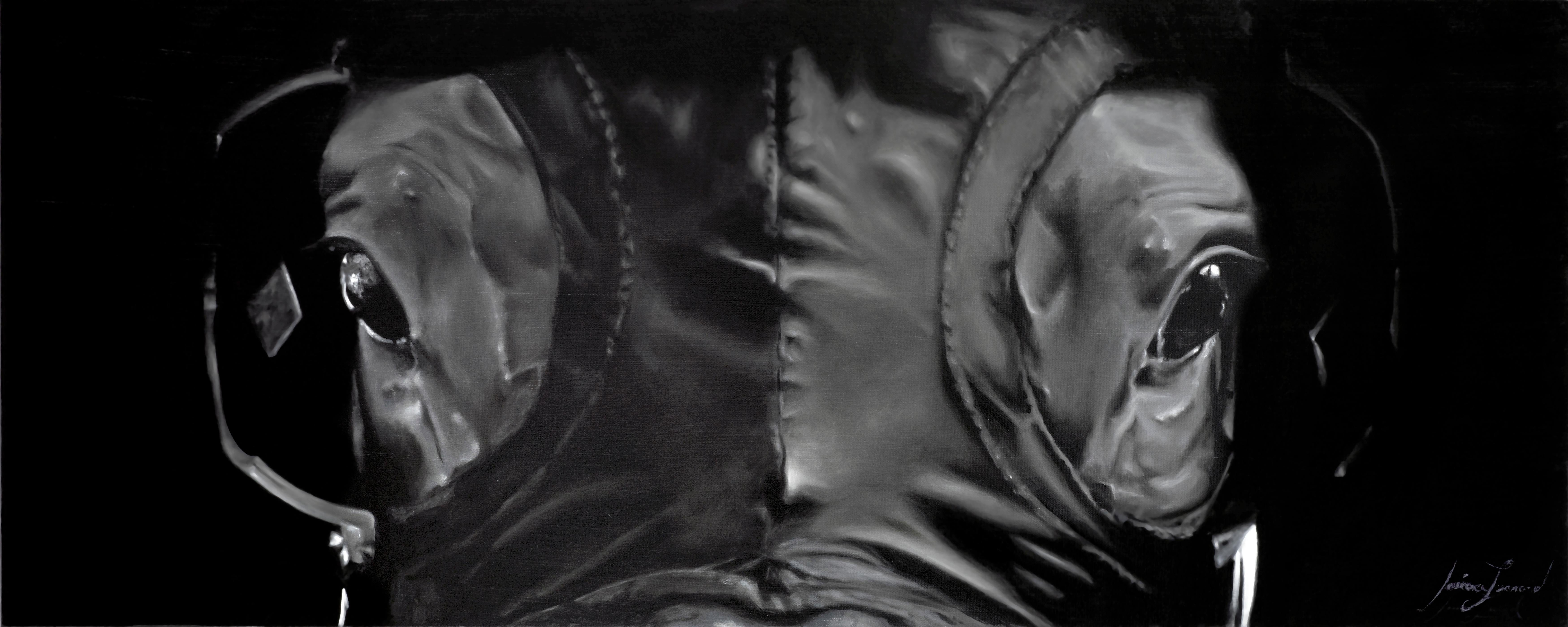 """Jessica Leonard, """"Across the Board"""", Black and White Equine Oil on Canvas"""