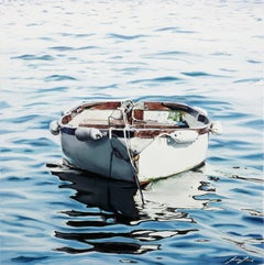 "Jessica Leonard, ""Departure"", 24x24 Boat on Water, Oil Painting on Canvas"