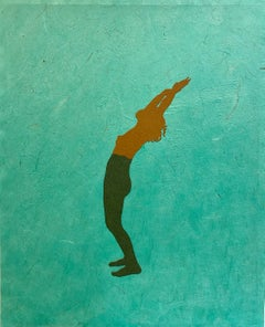 Untitled 11, Handmade Paper Collage with Female Swimmer Figure in Brown on Teal