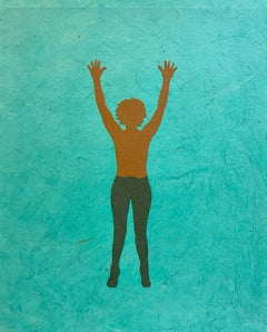 Untitled 13, Handmade Paper Collage with Female Swimmer Figure in Brown on Teal