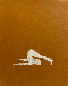 Untitled 14, Paper Collage, Female Figure in Ledger Paper on Brown, Yoga Pose