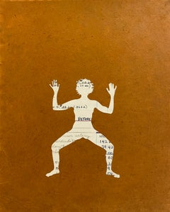 Untitled 15, Paper Collage, Female Figure in Ledger Paper on Brown, Yoga Pose