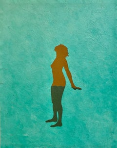 Untitled 7, Handmade Paper Collage with Female Figure in Brown on Teal Green