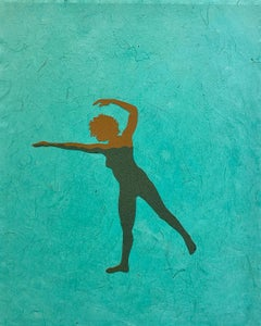 Untitled 9, Paper Collage with Female Swimmer Figure in Brown on Teal Green
