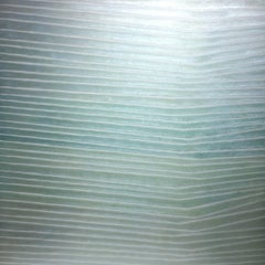 HS-CS Three, Square Pale Teal Green Glittery Striped Painting on Panel