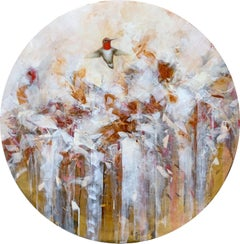 Golden Bloom II by Jessica Pisano, Contemporary Bird Painting on Board