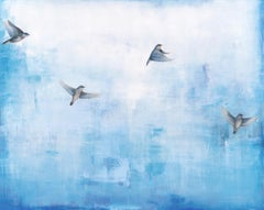 Migration by Jessica Pisano Large Horizontal Contemporary Bird Painting on Board