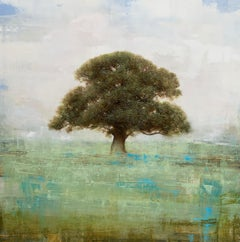 Old Oak by Jessica Pisano, Square Contemporary Tree Painting on Board