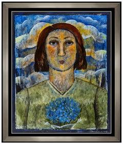 Jessica Rice Large Original Acrylic Painting Signed Female Portrait Framed Art