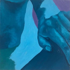 Cold (2020), blue nude oil on wood panel painting, hand and torso, cool tones