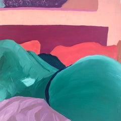 Ray (2020), figurative pink, purple, aqua & blue nude oil on wood panel painting