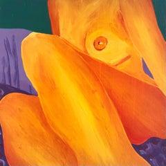 Tender (2020), golden yellow & orange nude oil on wood panel figurative painting