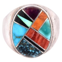 Jessie Begay Sterling Silver Turquoise, Onyx, Opal, Carnelian, and Coral Inlay R