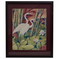 Jessie Hazel Arms Botke 'Attribute' Watercolor/Gouache Painting of White Cranes