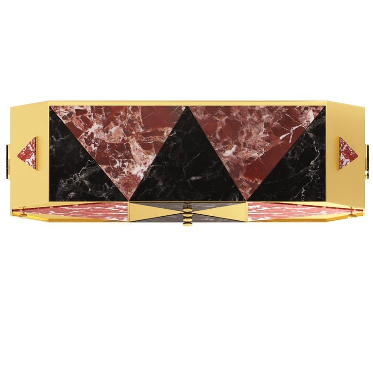 Italian Jester Sideboard/Cabinet in Black Walnut, Marble and Mirror Polished Brass For Sale