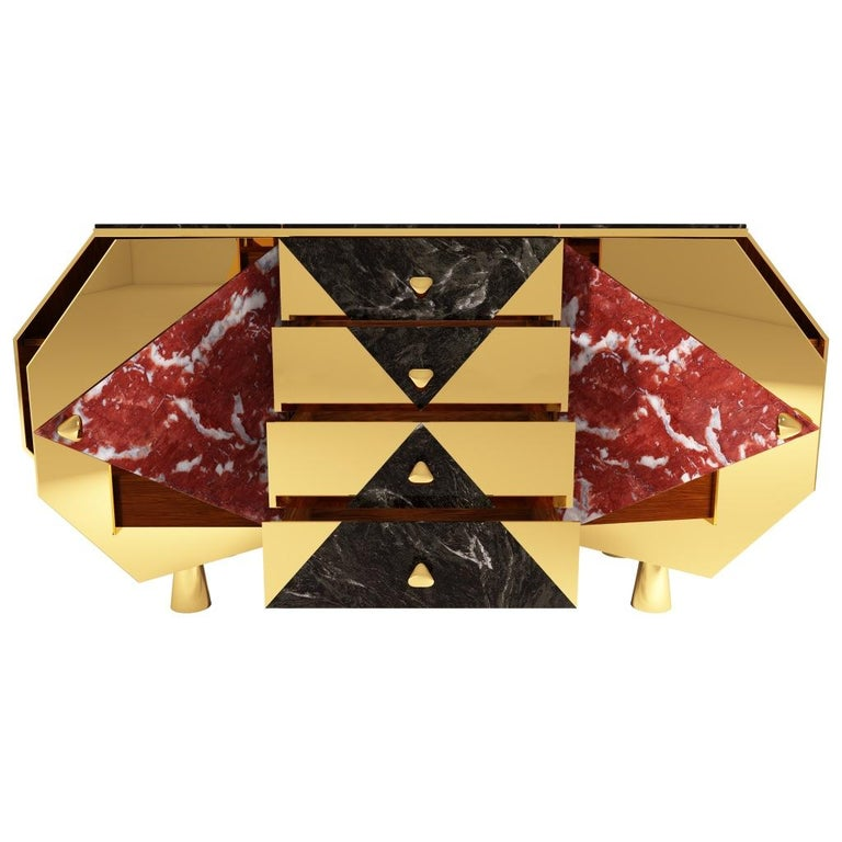 Contemporary Jester Sideboard/Cabinet in Black Walnut, Marble and Mirror Polished Brass For Sale