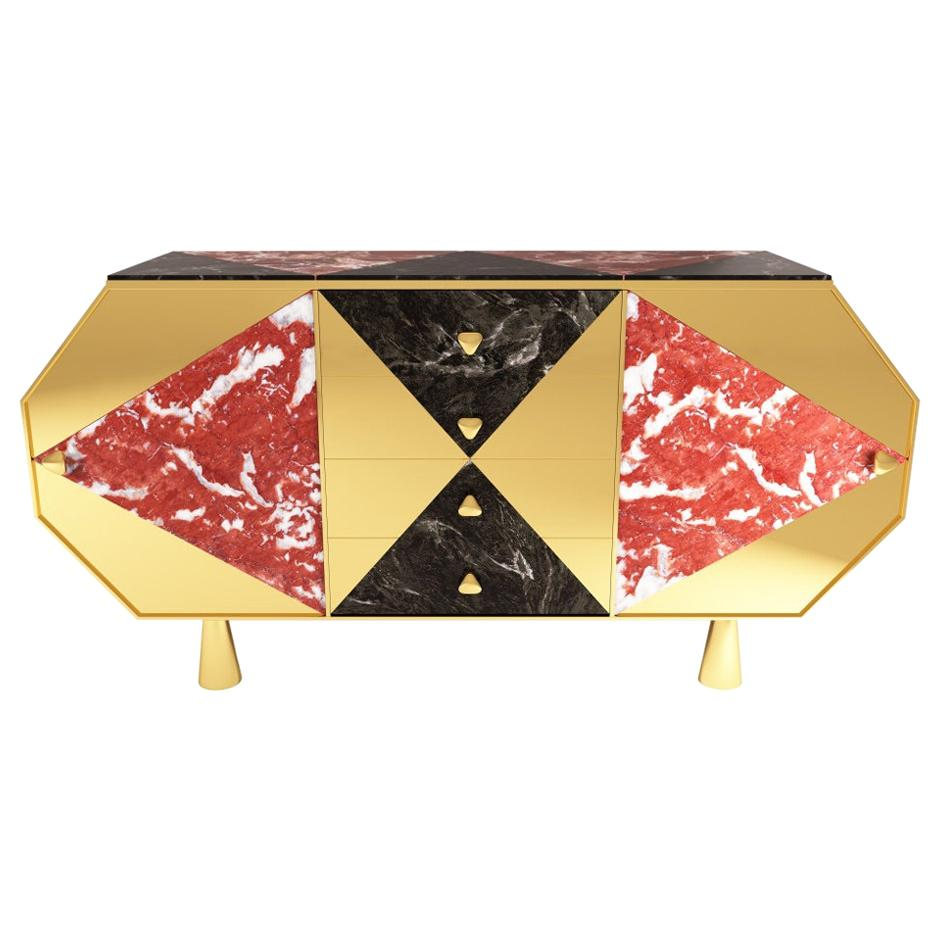 Jester Sideboard/Cabinet in Black Walnut, Marble and Mirror Polished Brass