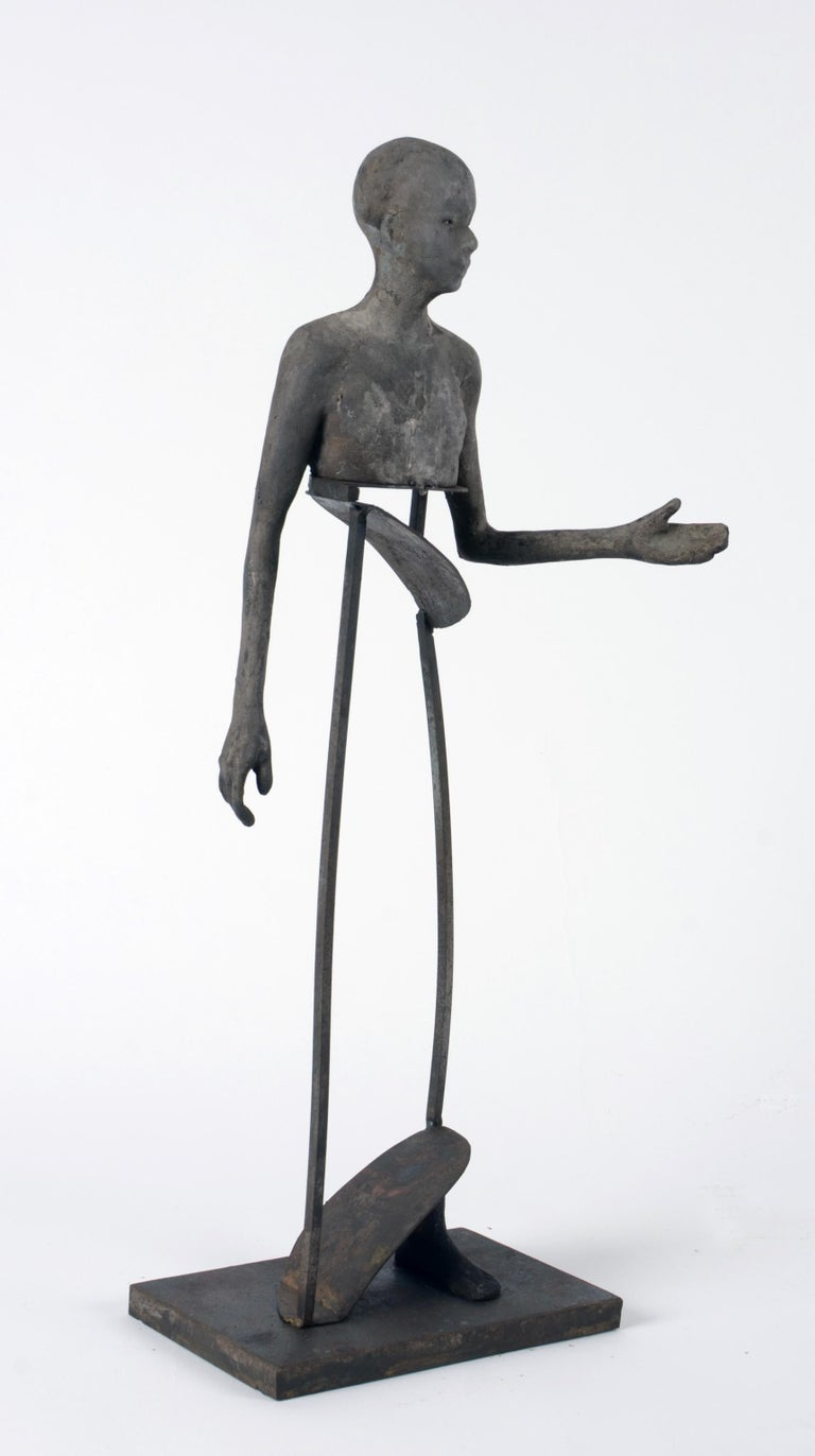 Aire IV, Bronze Head, Torso and Foot with Abstract Open Body Steel Sculpture - Gold Figurative Sculpture by Jesus Curia Perez