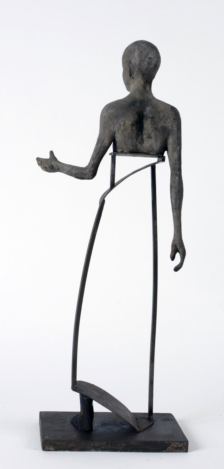 Aire IV, Bronze Head, Torso and Foot with Abstract Open Body Steel Sculpture For Sale 1