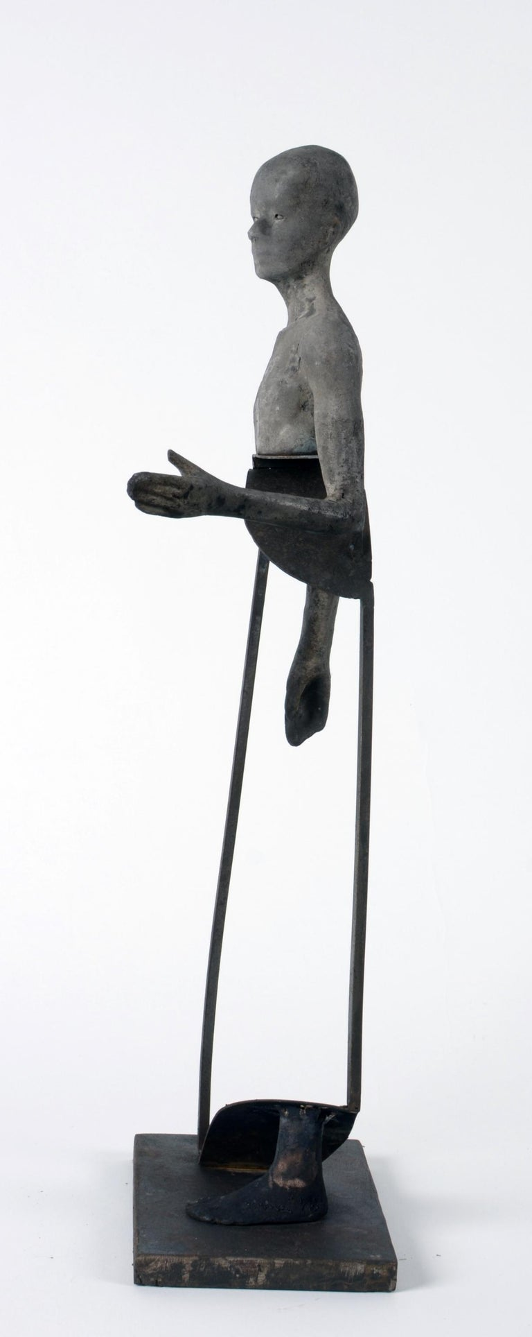 Aire IV, Bronze Head, Torso and Foot with Abstract Open Body Steel Sculpture For Sale 2