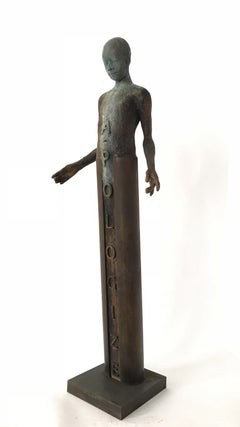 "Apologize, Bronze Sculpture of a Single Figure, ""Fuck You"" Emblazoned on Back"