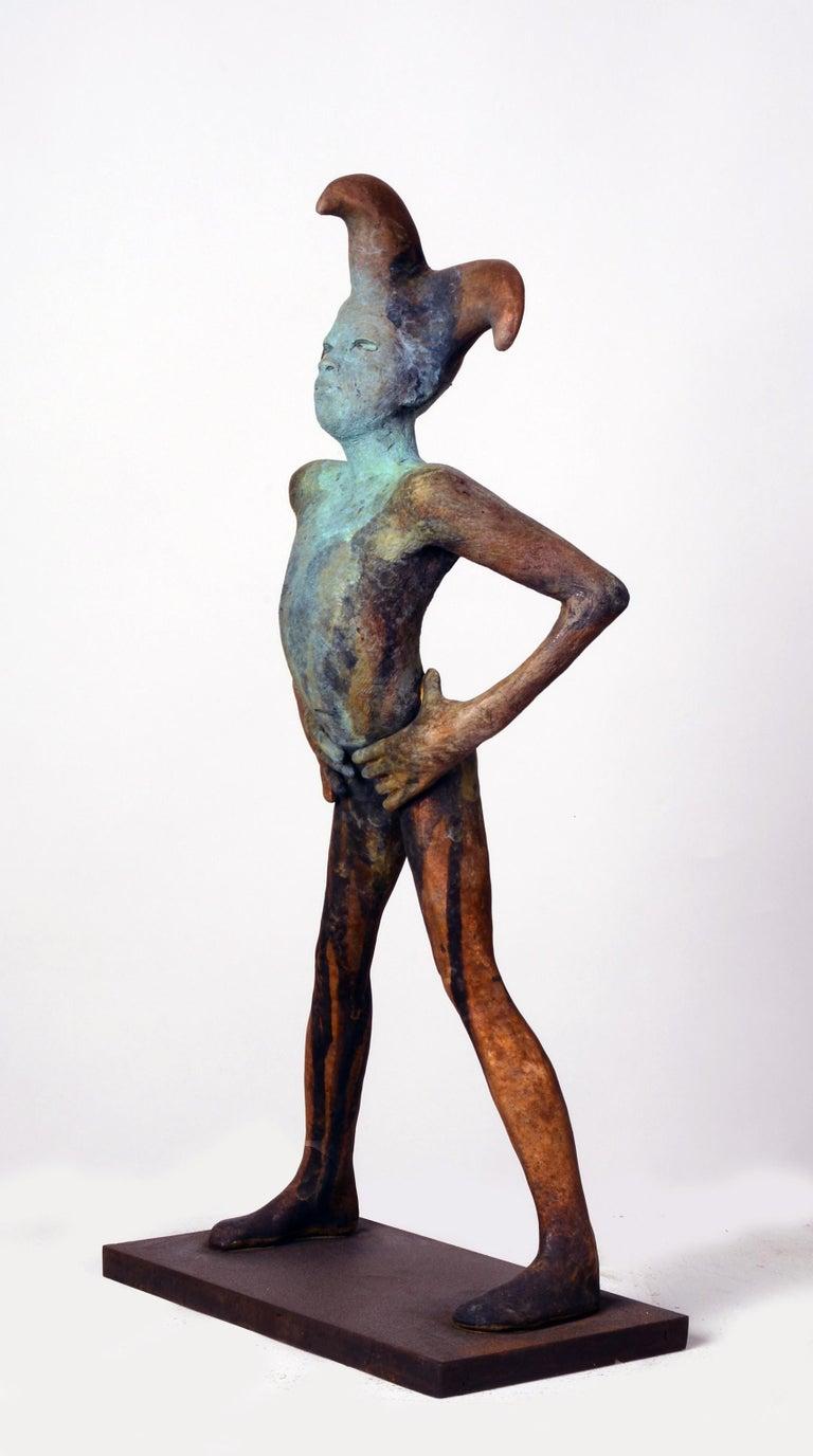Arlequin III, Bronze Commedia dell'arte Sculpture, Figure with Hands on Hips For Sale 1
