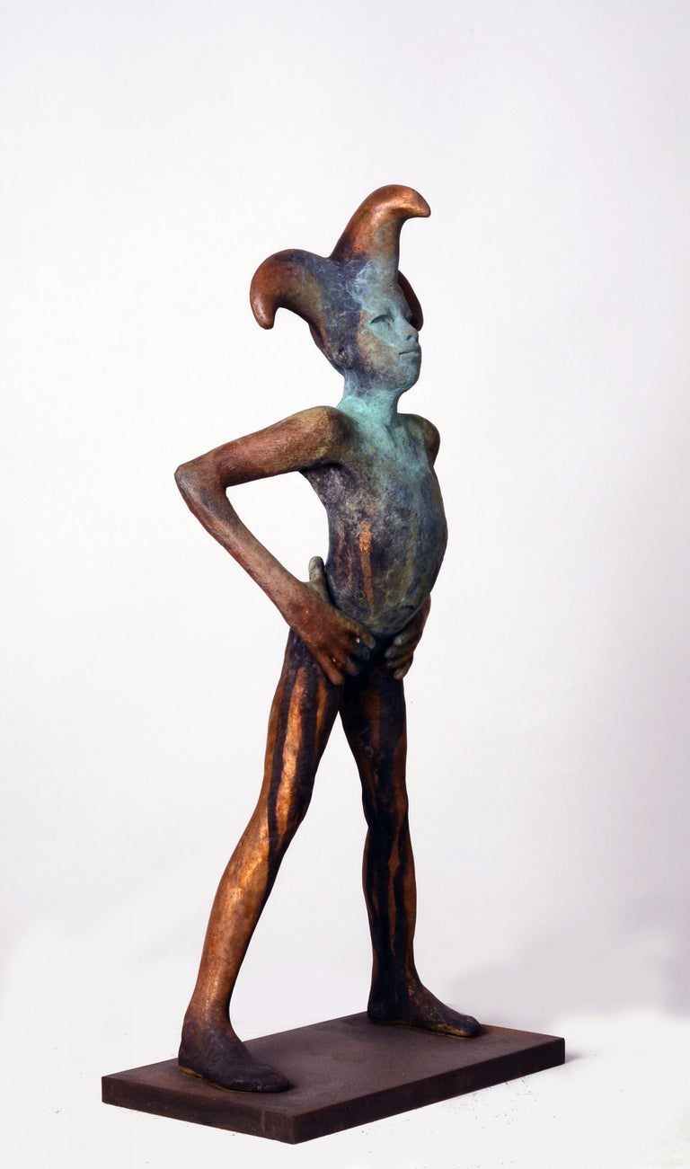 Arlequin III, Bronze Commedia dell'arte Sculpture, Figure with Hands on Hips For Sale 2