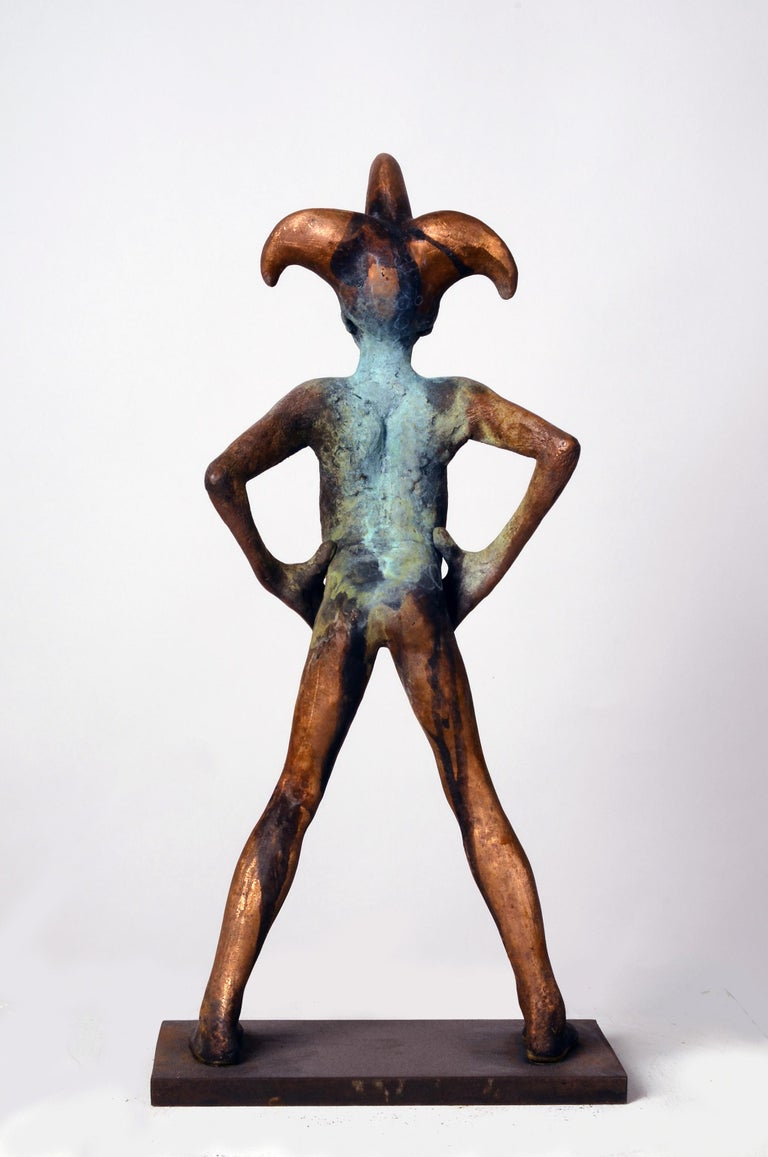 Arlequin III, Bronze Commedia dell'arte Sculpture, Figure with Hands on Hips For Sale 3