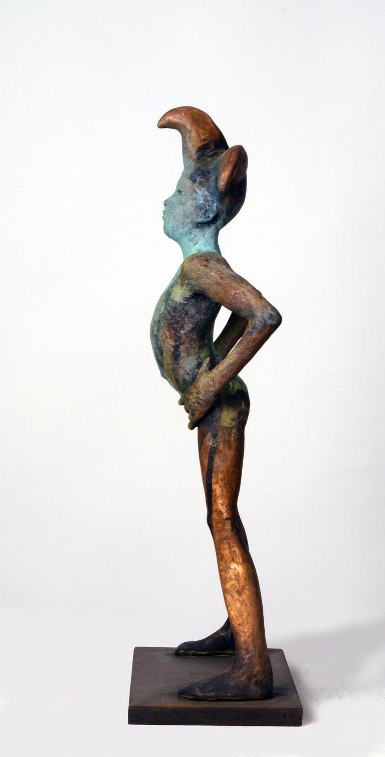 Arlequin III, Bronze Commedia dell'arte Sculpture, Figure with Hands on Hips For Sale 4