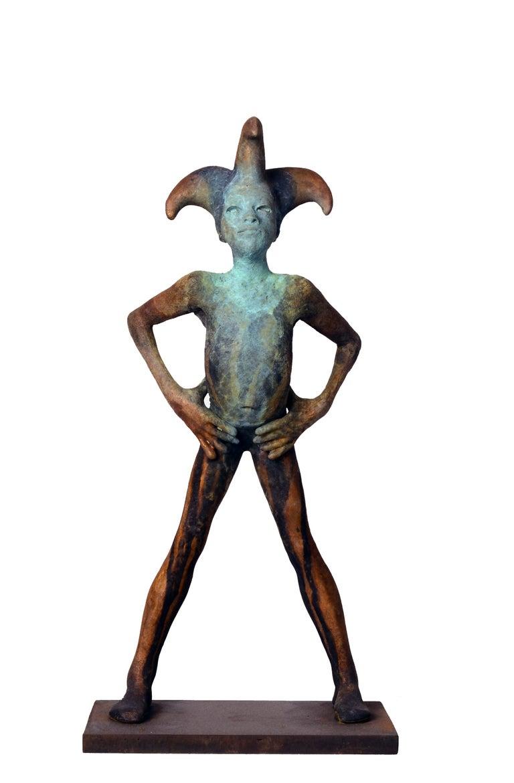 Jesus Curia Perez Figurative Sculpture - Arlequin III, Bronze Commedia dell'arte Sculpture, Figure with Hands on Hips
