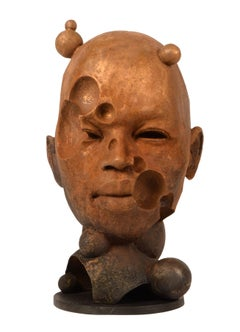 Bubbles - Abstracted Bronze Bust, Natural Rust Patina, Limited Edition Sculpture