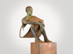 Decisión, 2011, Jesus Curiá, Figurative Art, Bronze and Iron Sculpture, Green