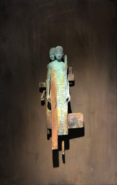 Dialogo II - Bronze Wall Sculpture With Verdegris, Rust Patina and 2 Figures