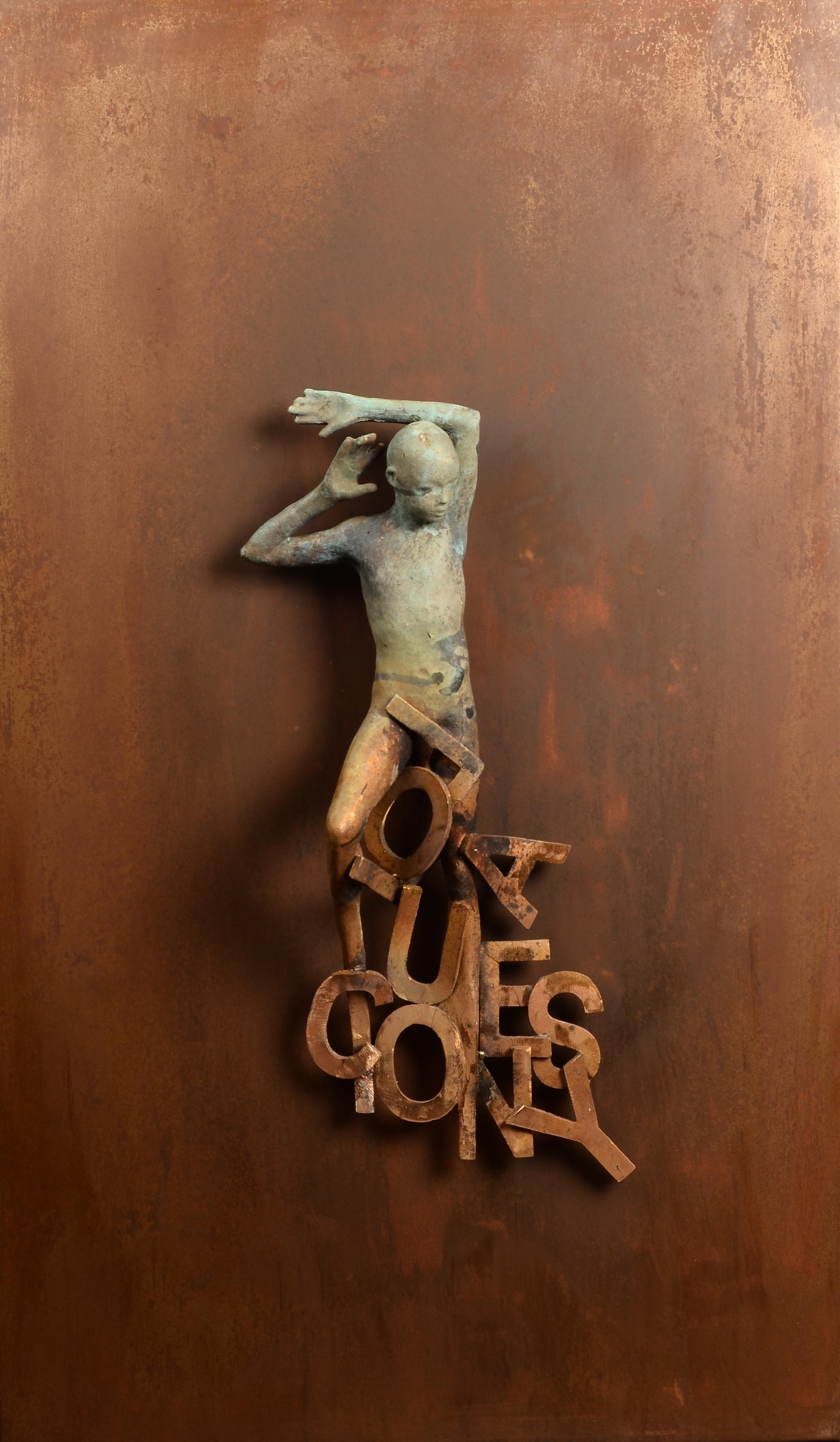 Dream I - Bronze and Steel Wall Sculpture with Figure and Letter Abstraction