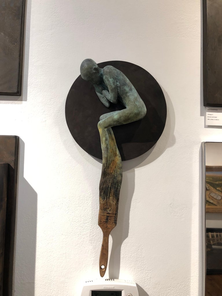 Dream III - Bronze Wall Hanging Surreal Sculpture of Figure  and Painting Brush For Sale 8