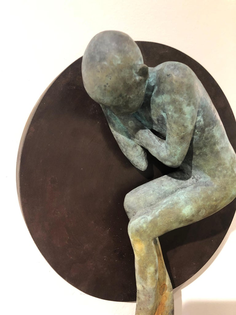 Dream III - Bronze Wall Hanging Surreal Sculpture of Figure  and Painting Brush For Sale 1