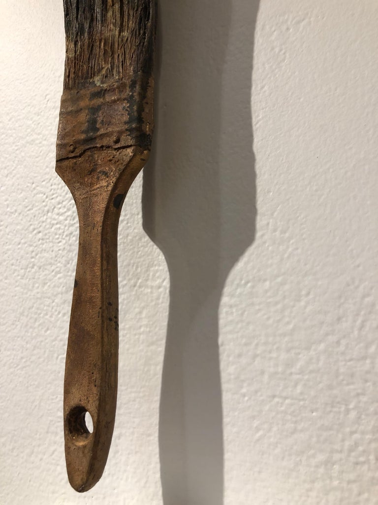 Dream III - Bronze Wall Hanging Surreal Sculpture of Figure  and Painting Brush For Sale 3