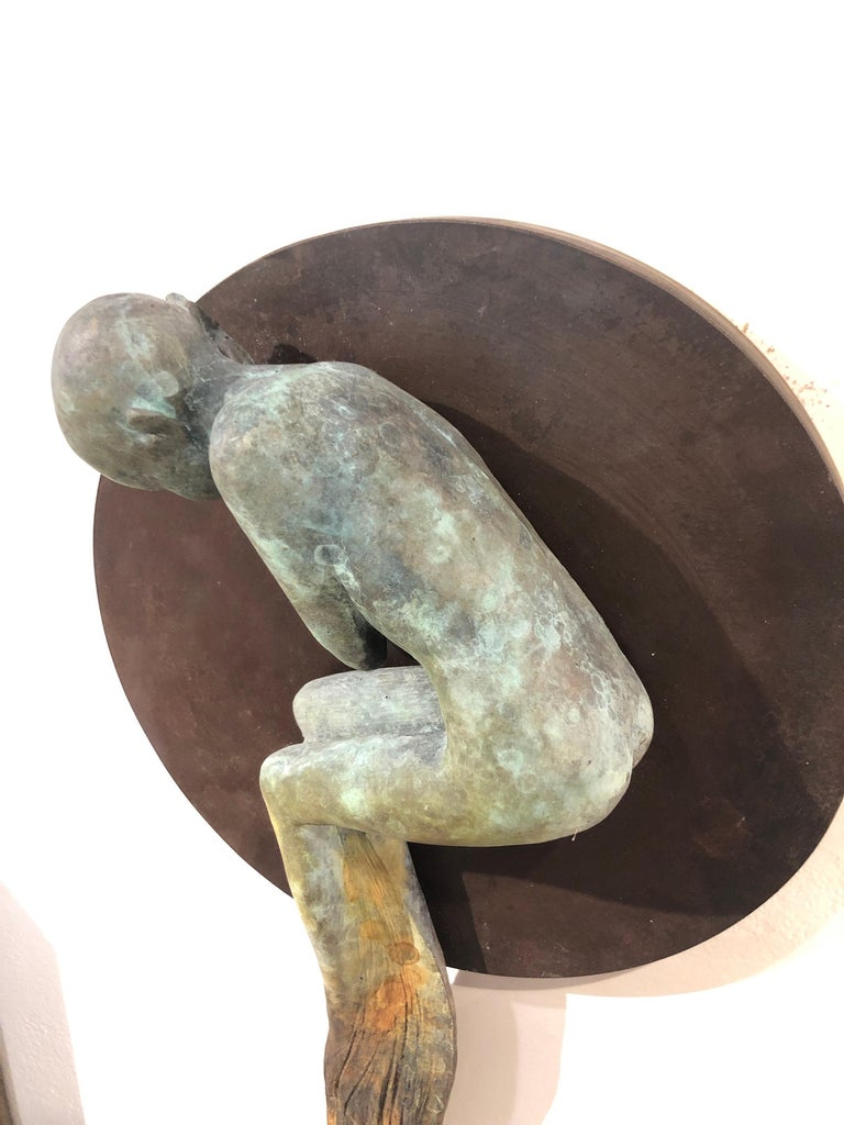 Dream III - Bronze Wall Hanging Surreal Sculpture of Figure  and Painting Brush For Sale 6