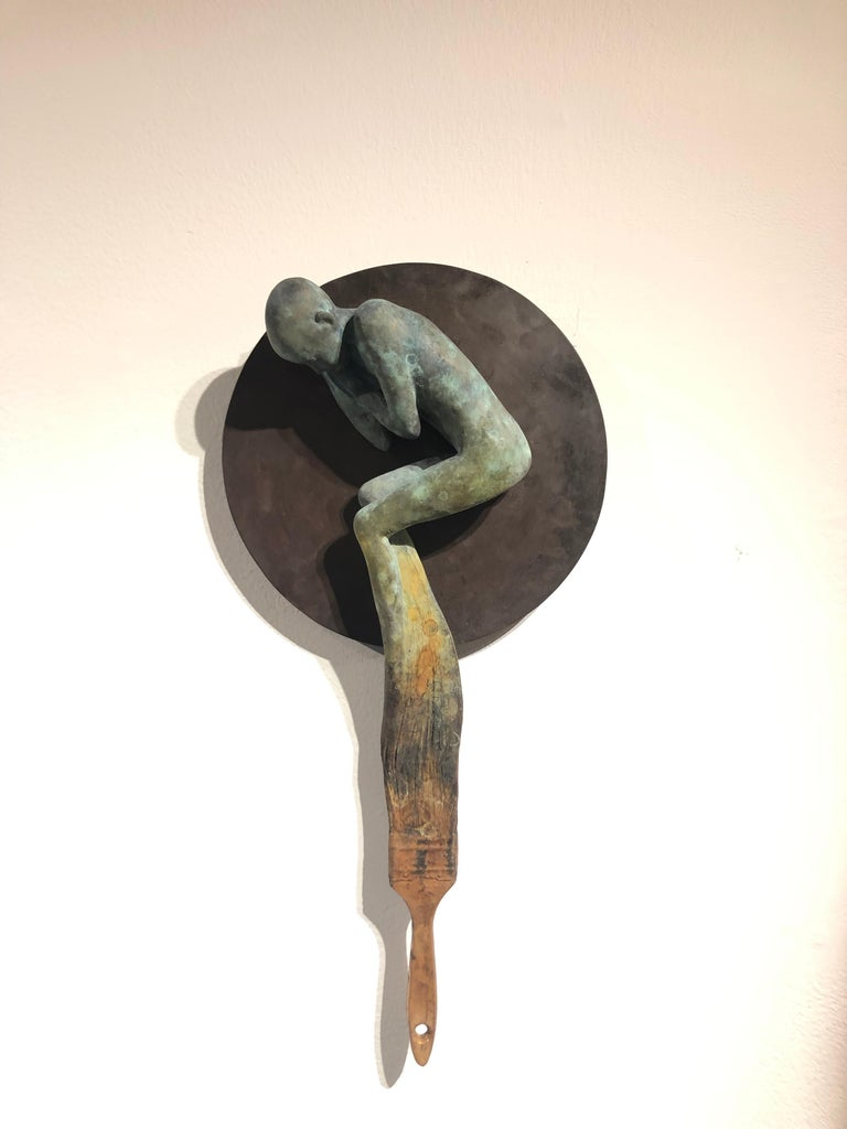 Dream III - Bronze Wall Hanging Surreal Sculpture of Figure  and Painting Brush - Gold Abstract Sculpture by Jesus Curia Perez