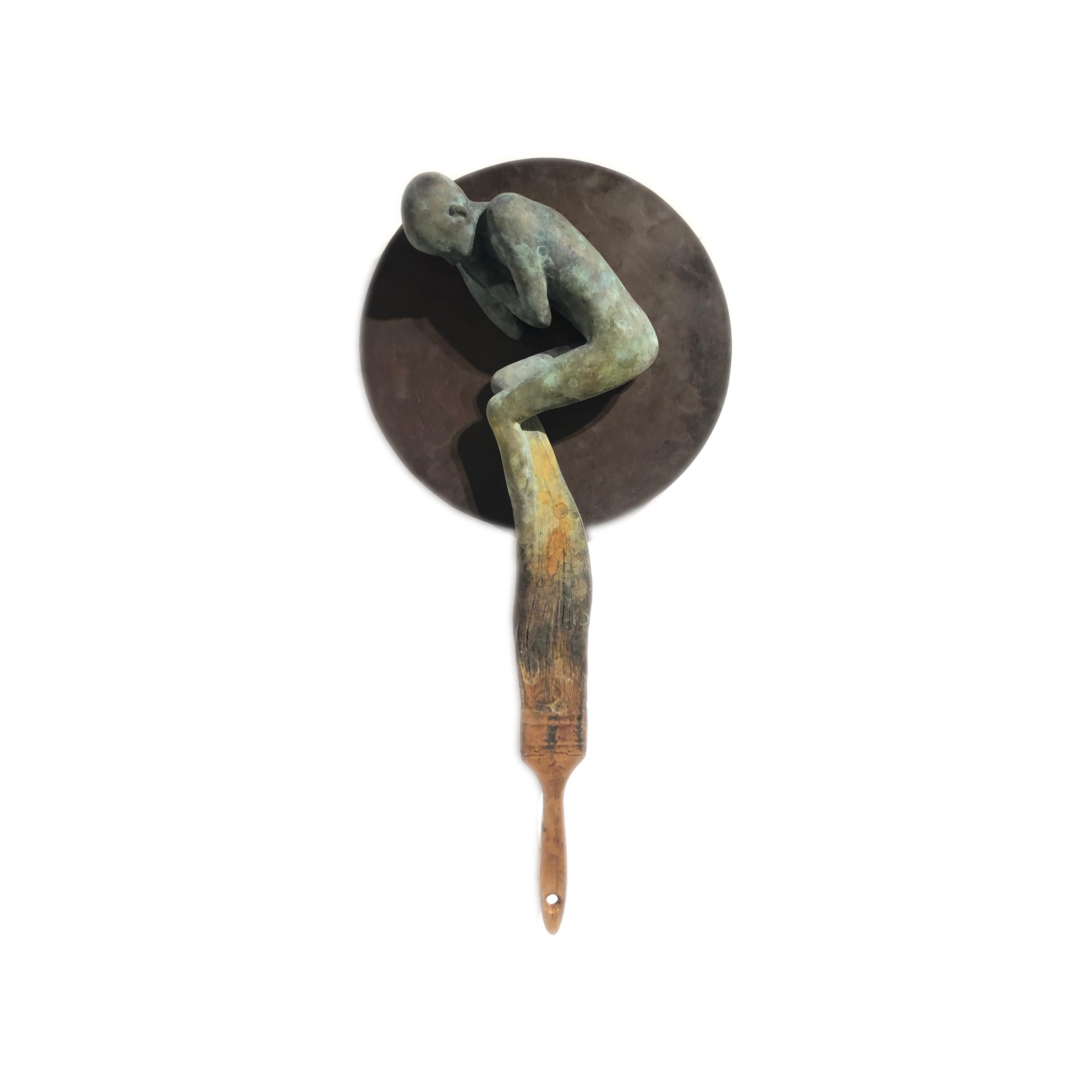 Dream III - Bronze Wall Hanging Surreal Sculpture of Figure and Painting Brush