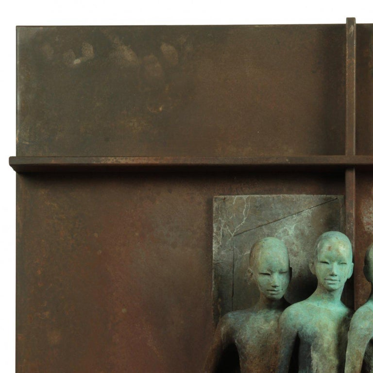 Escena III - Bronze and Steel Wall Sculpture with Three Abstracted Figures 2
